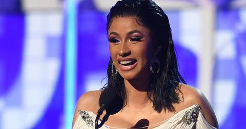 Cardi B on stage after winning her Grammy Award
