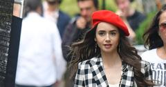 Lily Collins on the filmset of Emily in Paris