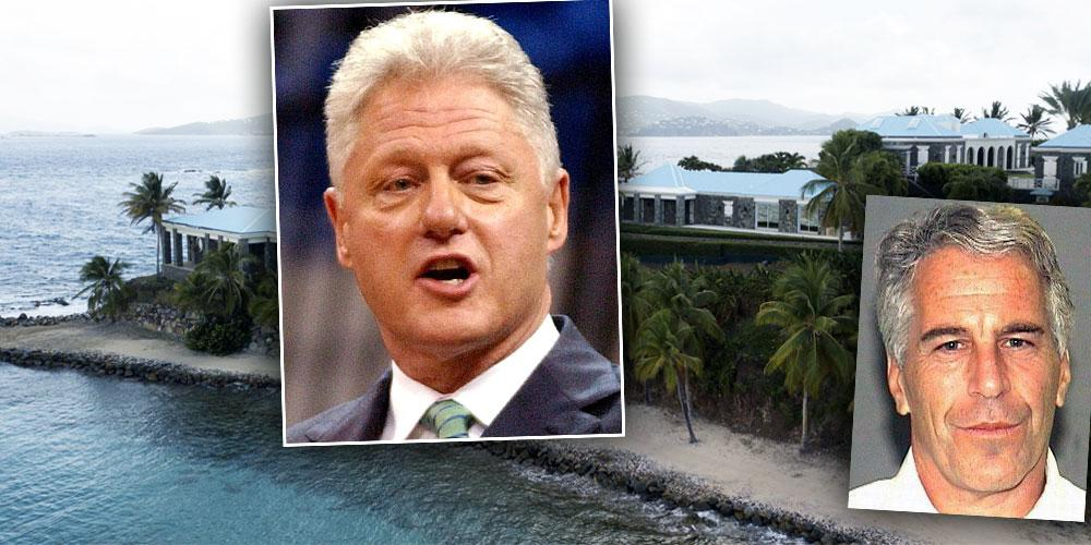 Jeffrey Epstein's Private Island, Insets of Bill Clinton from 2003, and Jeffrey Epstein mugshot