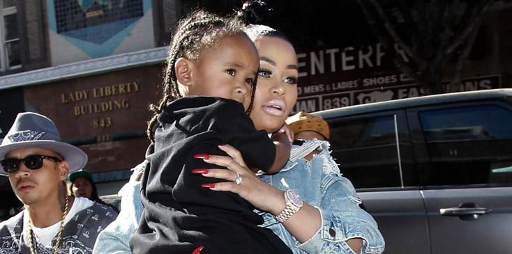 Blac Chyna makes an appearance with her son at a clothing store in downtown Los Angeles.