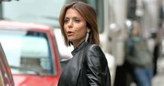 TV personality Bethenny Frankel, wearing red skinny jeans and leather jacket, heads to a  Skinnygirl appearance at Wal mart in New York City