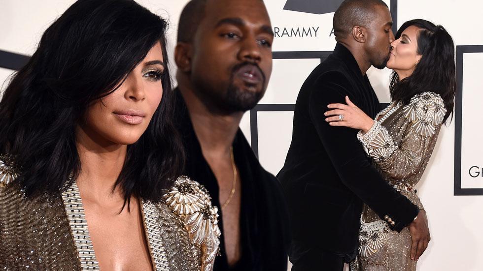 Kim kardashian kanye west 2015 grammy arrivals