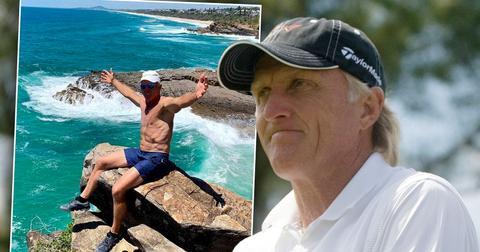 inset Greg Norman shirtless instagram photo: Golfer Greg Norman