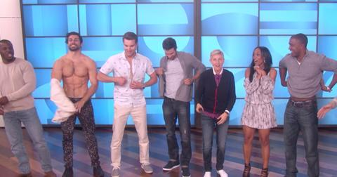 Rachel linday suitors strip down on the ellen show making it the best bachelorette group date hero