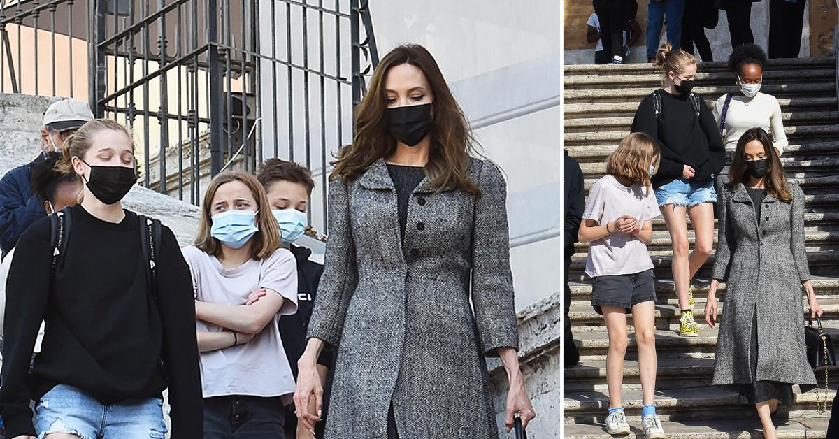 angelina jolie struts spanish steps explores rome with kids before eternals premiere in italy photos