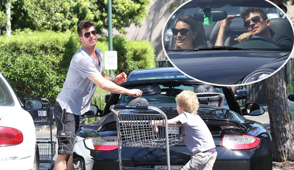 *EXCLUSIVE* Robin Thicke and son Julian go Easter shopping