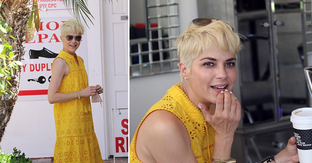 selma blair yellow dress and new blonde hair