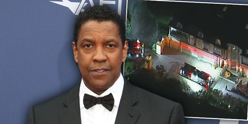 LA Firefighters Respond To A Fire Scare At Denzel Washington's Home