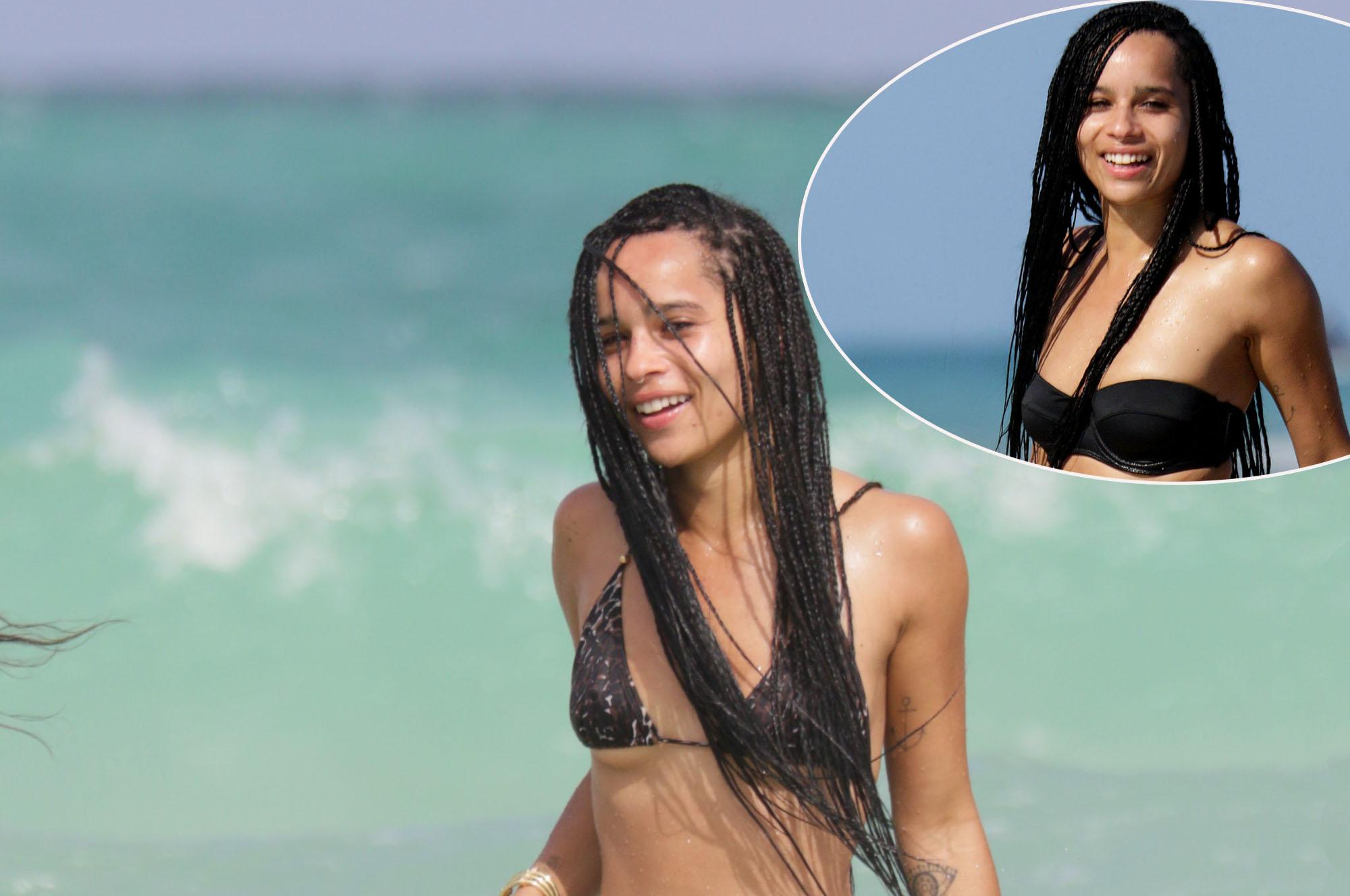 Zoe Kravitz spotted in an animal print bikini at the beach in Miami