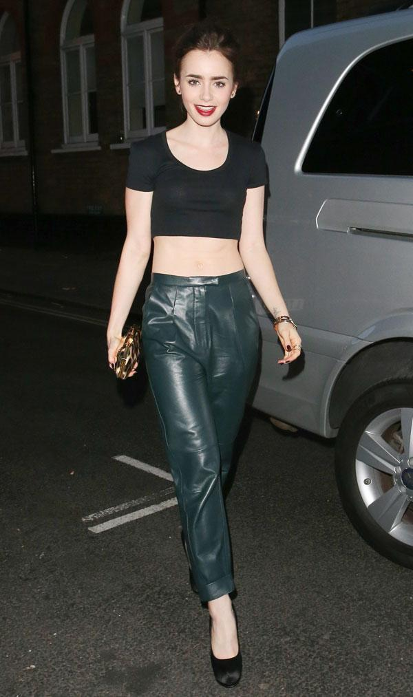 Lily Collins Leather