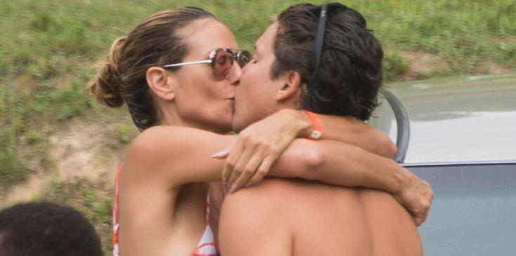 EXCLUSIVE: ** PREMIUM EXCLUSIVE RATES APPLY ** Heidi Klum and her boyfriend Vito Schnabel enjoy kissing while spending a day in the Caribik . PART1