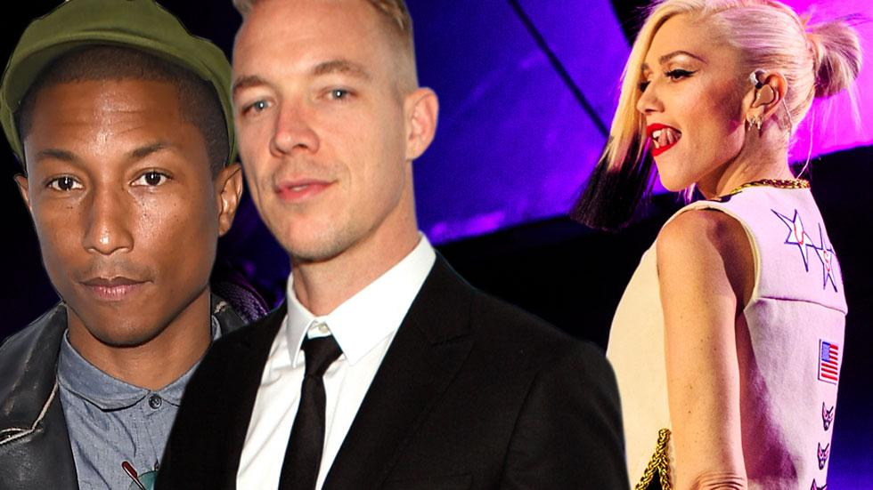 Gwen stefani getting close to diplo pharrell williams after split
