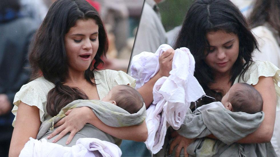 Selena gomez baby on set (1)