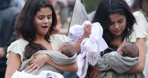 Selena gomez baby on set (1)