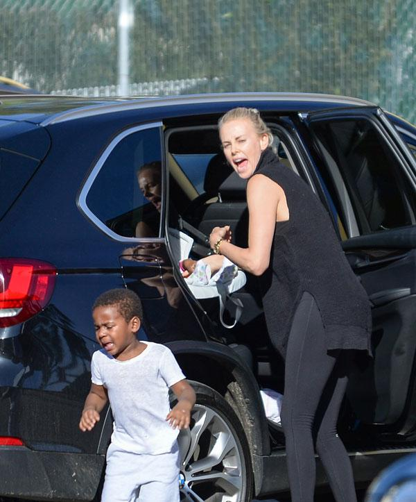 Charlize theron drags child