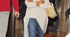 Kerry Washington and husband Nnamdi Asomugha leave their hotel with their baby daughter Isabelle who was carried by a nanny, in NYC