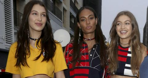 Bella Hadid, Joan Smalls, and Gigi Hadid greet fans after the Tommyland show