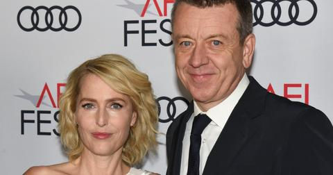 Gillian Anderson and Peter Morgan at 'The Crown' premiere