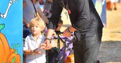 Robin Thicke takes his son Julian to a pumpkin patch in Beverly Hills
