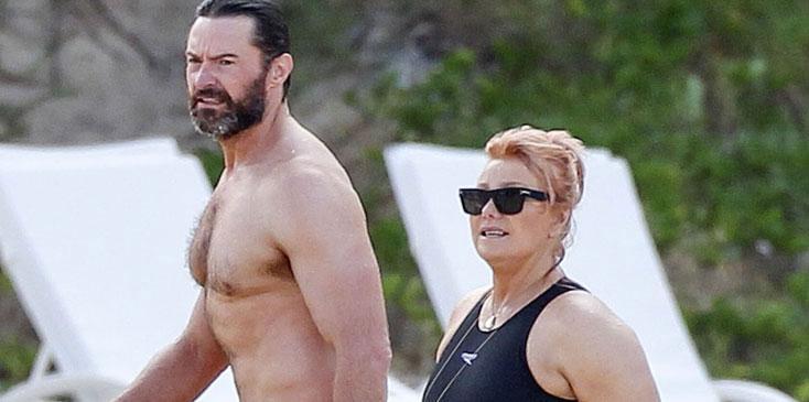 Hugh Jackman shirtless Deborra Lee Furness wedding anniversary beach vacation