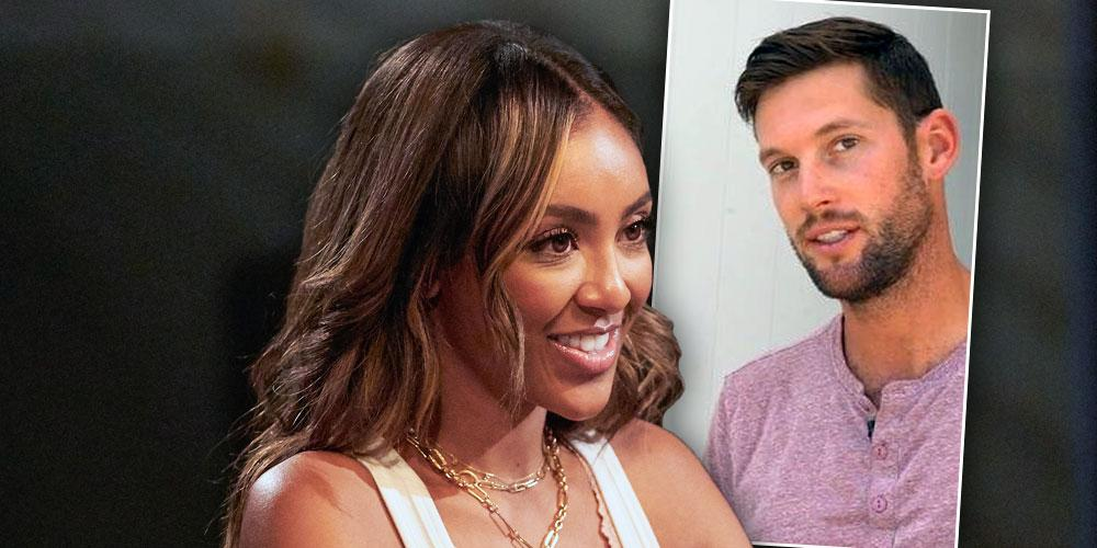 Bachelorette Tayshia Adams with Inset of Ex Josh Bourelle: Dished About Their Marriage — 5 Facts About Him