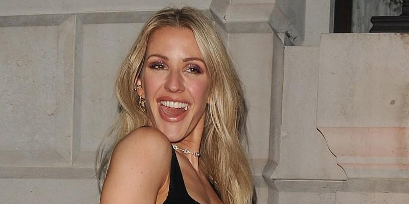 Ellie Goulding Smiling Wearing a Black Dress