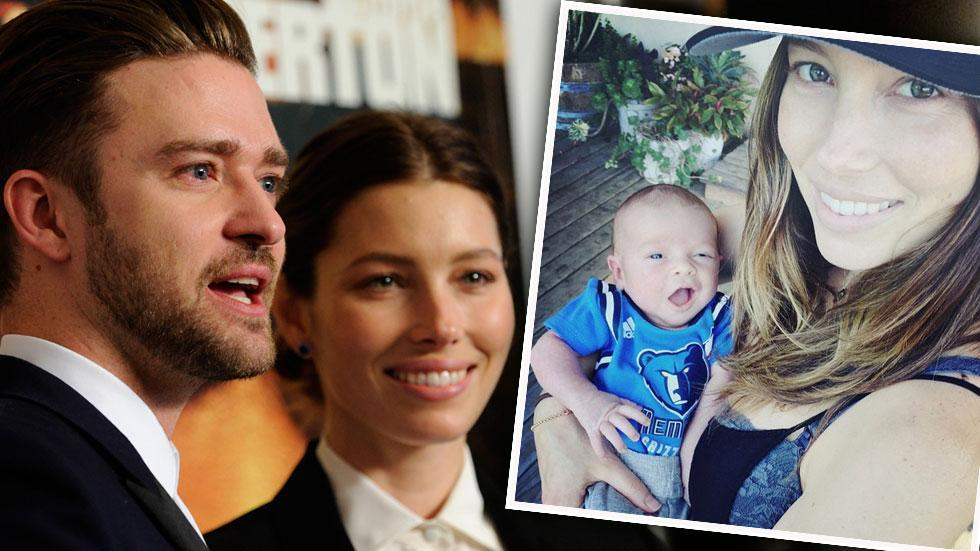 Justin timberlake jessica biel baby first photo face