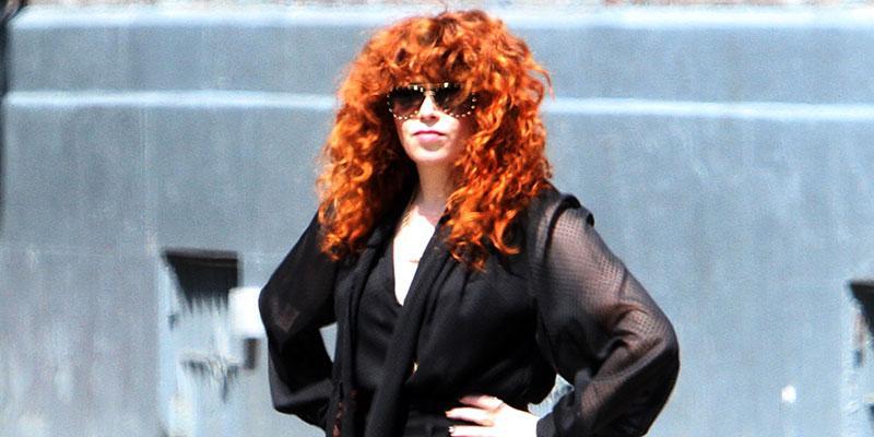 Natasha lyonne stuns black jeans blinged out shades main