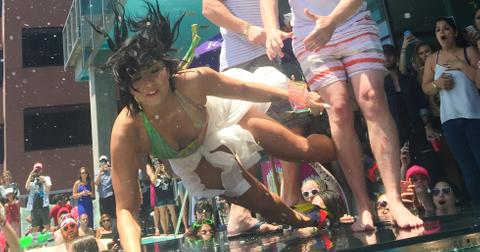 Demi Lovato takes a fall during KISS FM Summer Pool Party
