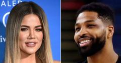 Close up of Khloe Kardashian next to a close up of Tristan Thompson