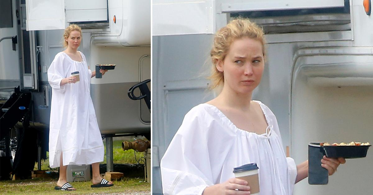 jennifer lawrence arrives on set of red white and water